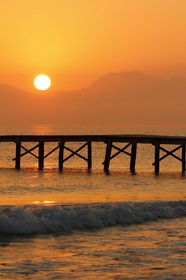 Sunset at Playa de Muro, Mallorca, Bay of Alcudia, Majorca_ Spain