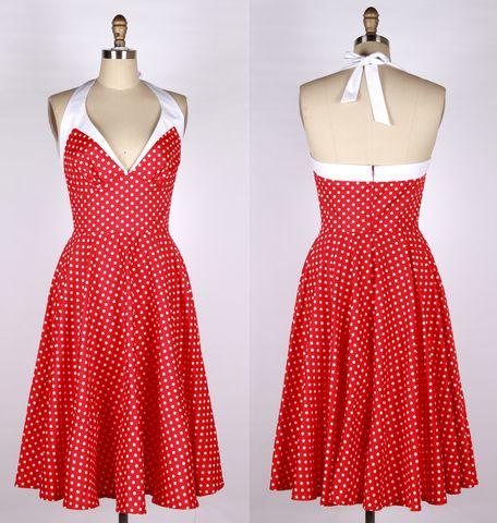 50s 40s Polka Dot  Halterneck Swing Dress 81702