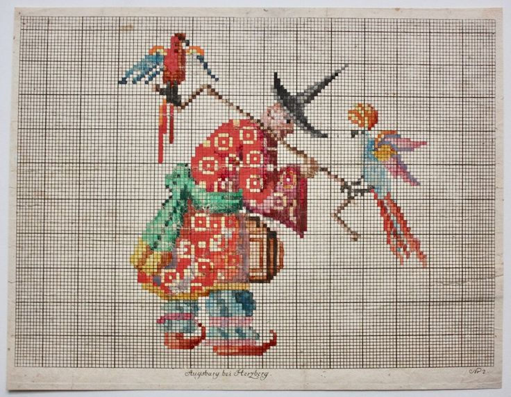 Antique 19th C. Berlin Woolwork Pattern Embroidery Chart Needlepoint Chinoiserie | eBay