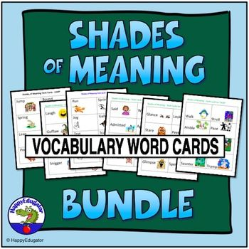 "Shades of Meaning Verb Cards - Bundle of Six Sets. Cut out and laminate these 16 different cards IN EACH SET illustrating different synonyms of the verbs ""LAUGH, SEE, SAID, JUMP, RUN, AND WALK."" Help students understand connotation. With guidance and support from adults, students acquire new vocabulary by defining word relationships and nuances in word meanings, sorting words into categories, choosing and acting out the different meanings."