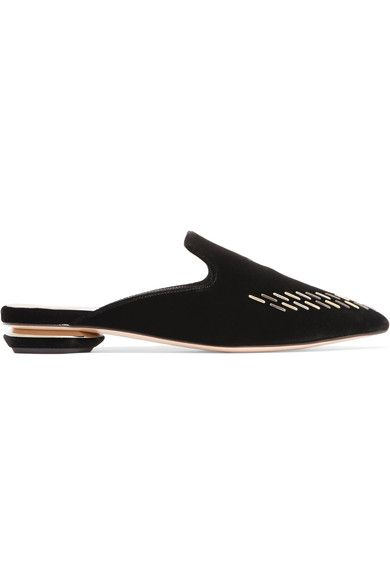 Nicholas Kirkwood - Beya Embellished Velvet Slippers - Black - IT41.5