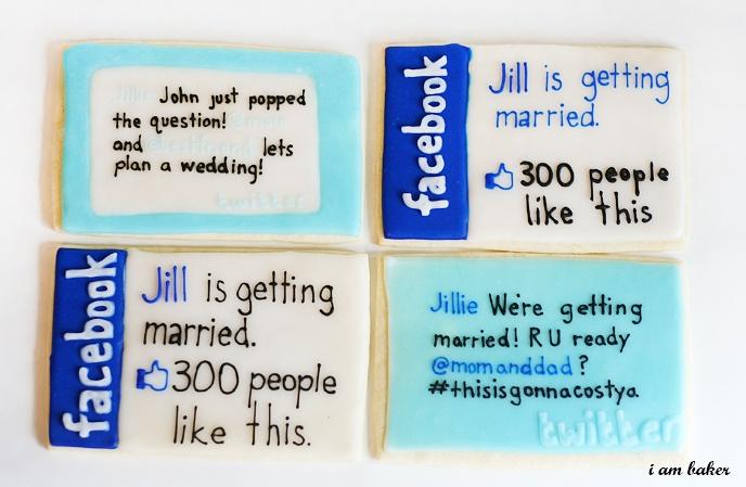 Annonce de mariage avec cookies twitter-facebook