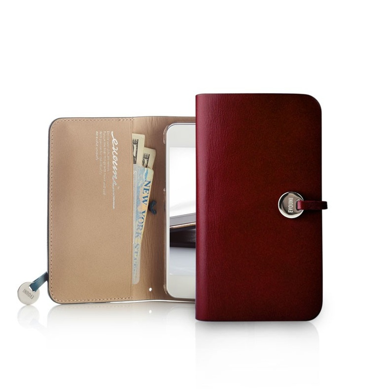Evouni iPhone 5 Leather Arc Wallet Case - Claret
