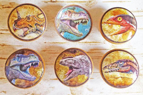 Dinosaur Knobs Set of 6 Handmade Drawer by SRVintageandDesigns