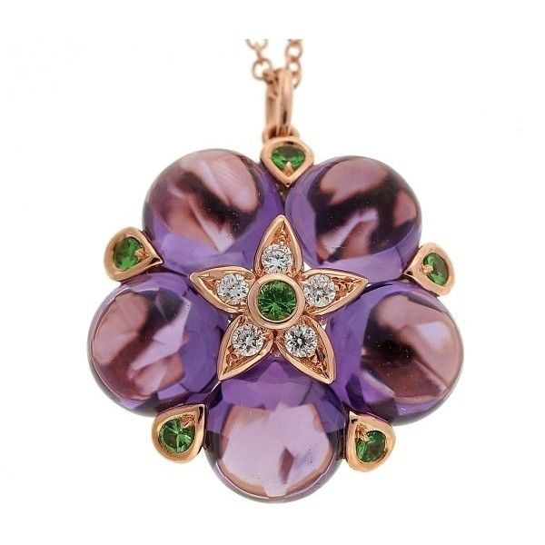 Pre-owned 14K Rose Gold 10.22ct Purple Amethyst Cabochon Garnet... ($2,257) ❤ liked on Polyvore featuring jewelry, necklaces, purple diamond necklace, pendant necklaces, amethyst pendant necklace, round pendant necklace and rose gold chain necklace