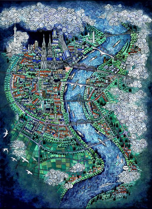 Map of Koln, Germany. This is too much beauty in a piece of paper.