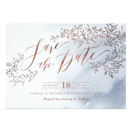 Dusty blue rustic floral calligraphy save the date card - winter gifts style special unique gift ideas