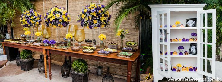 decoração de casamento roxo e amarelo - Esfera Eventos