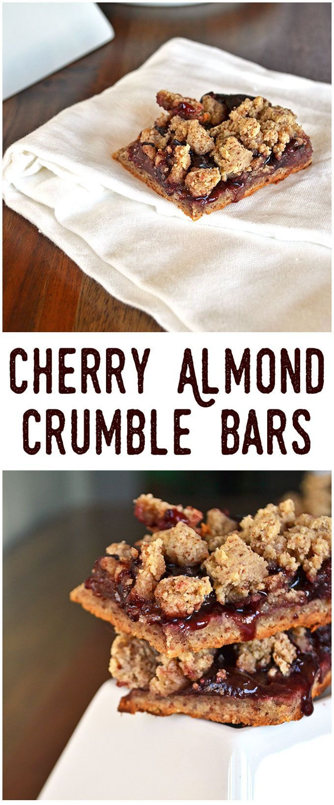 cherry almond crumble bars almond recipes vegan recipes energy bars ...