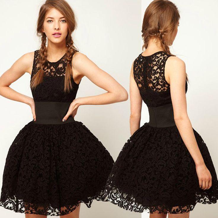Fashion See Through Lace Slim Wide Waist Full Skirt Bubble Dress Sundress