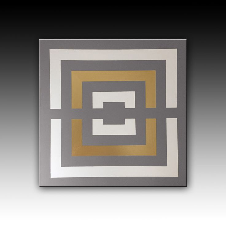 Metallic paint, Grey White Gold Contemporary Acrylic Painting, Original Abstract Geometric Painting, Extra Large Wall Decoration, 39''x39''