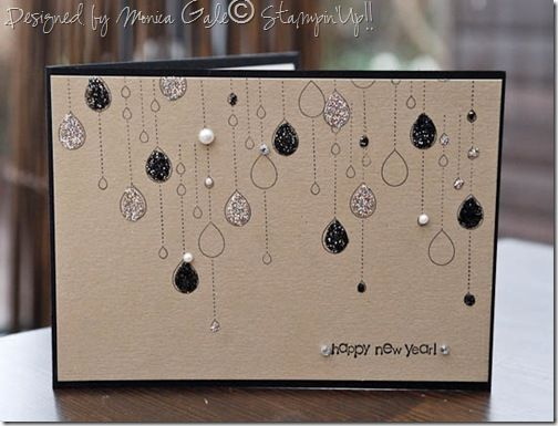I love the chandalier look of this card... or, since it's new years, it could be balloons hanging from the ceiling at a dance, or the confetti falling from the sky in Times Square... right? LOL Love it!
