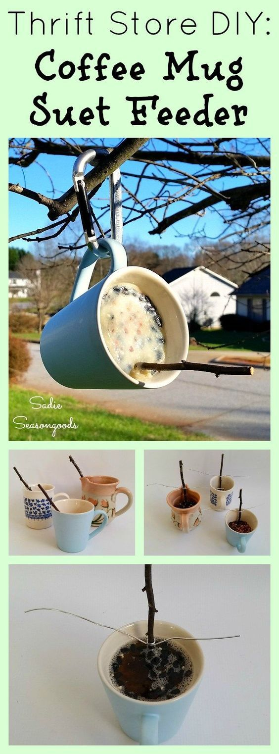 Create a cute and easy DIY suet bird feeder by upcycling a coffee mug from the thrift store! Make your own suet by melting beef fat and mixing in seed, OR just melt down a suet cake from the store. A stick from the yard makes the perfect freebit perch. #SadieSeasongoods / www.sadieseasongoods.com