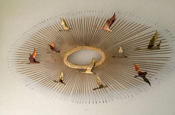 Mid Century Modern Wall Sculpture Brass & Copper Sunburst with Geese By…