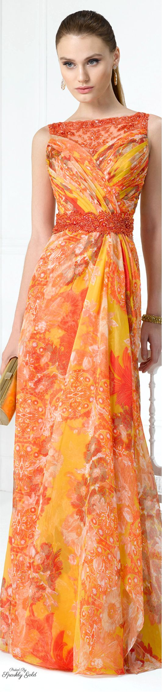 Orange print special occasion gown - Aire Barcelona 2016
