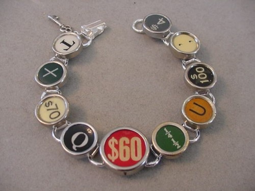 cute! CASH REGISTER KEY  TYPEWRITER KEY BRACELET typewriter key jewelry