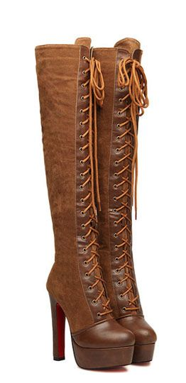 Lace-Up and Chunky Heel Design Over The Knee Boots    dresslily.com