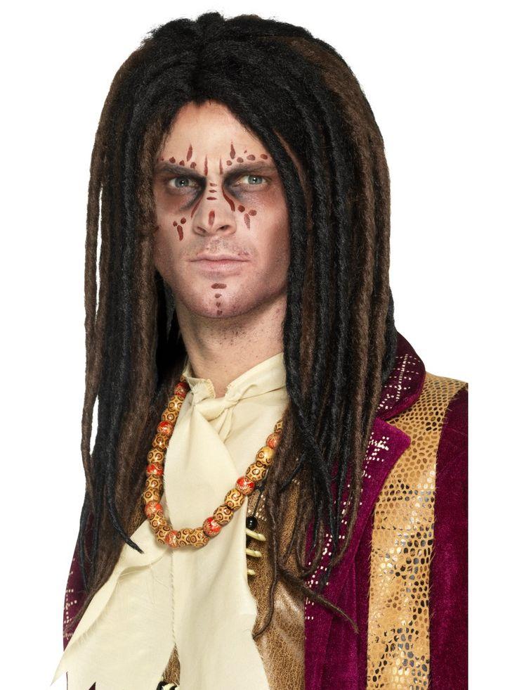 Voodoo papin peruukki. Musta-ruskea rastamallinen pitkä peruukki.