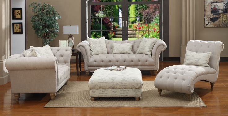 Transitional Button Tufted Living Room