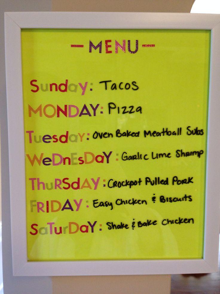 My homemade weekly menu board!