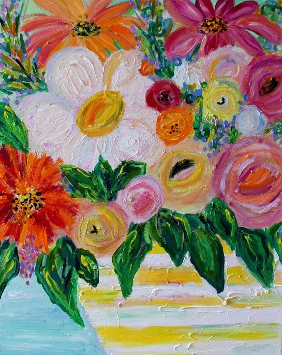 122 best art by carolyn shultz images on pinterest for Bright flower painting