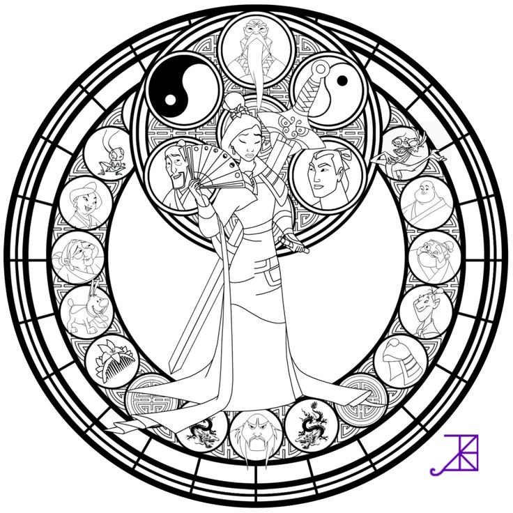 Mulan Stained Glass -line art- by Akili-Amethyst on deviantART