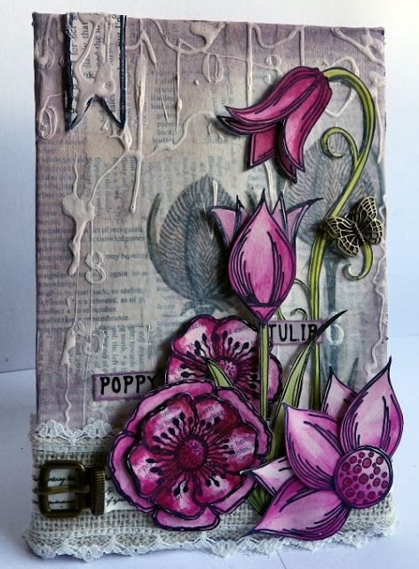 PaperArtsy: 2015 #15 Drippage Canvas {by Sue Carrington}