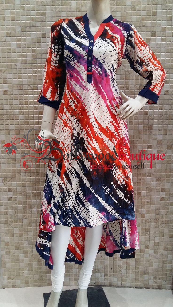 Multicolor Tail Cut Kurti in Tie & Dye Print ‪#‎Kurtis‬ ‪#‎Tail_Cut‬ ‪#‎Multicolor‬ ‪#‎Tie_N_Dye_Prints‬ ‪#‎Casual_Wear‬ ‪#‎BollywoodBoutique‬ ‪#‎Bollywood_Boutique‬ ‪#‎Bollywood_Boutique_Hoshiarpur‬