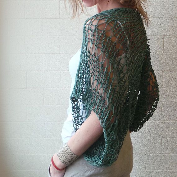 Emerald green Eco cotton loose weave hand knit shrug
