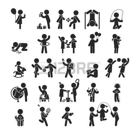 D finir des activit s pour enfants jouer et apprendre ic nes pictogramme humaines format vectoriel Banque d'images