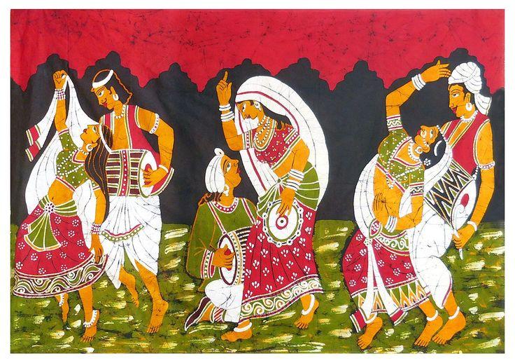 Indian Folk Dancers (Batik Painting on Cotton Cloth - Unframed)
