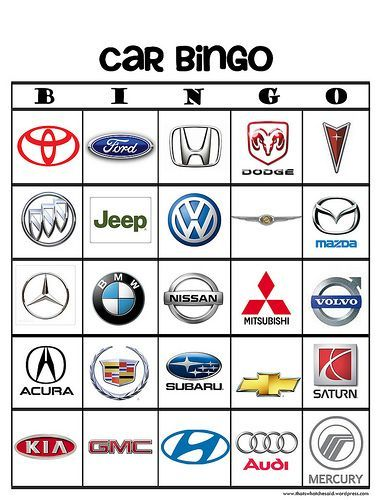 car bingo | started off making a basic BINGO board in PSE and for the Car Bingo ...
