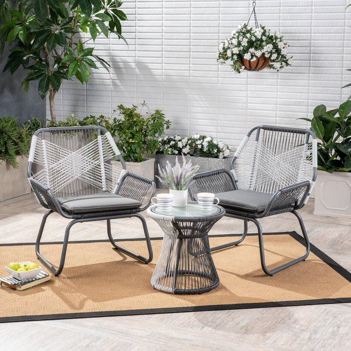 Sophia Outdoor 3 Piece Rattan Seating Group With Cushions Patio