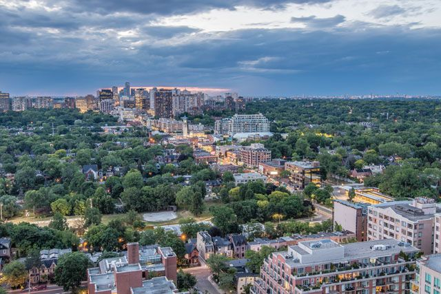 North view from terrace at luxury penthouse for sale at the Florian Condos Victoria Boscariol Chestnut Park Real Estate