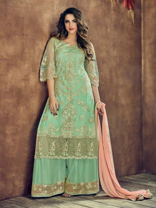 e79ddc48fc Mystical green embroidered palazzo suit online which is crafted from net  fabric with exclusive embroidery work. This stunning designer palazzo suit  comes ...