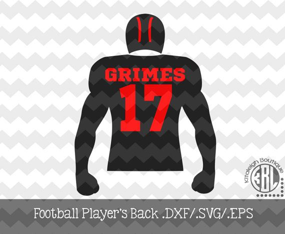Football Player's Back Decal Files (.DXF/.SVG/.EPS)  for use with your Silhouette Studio Software