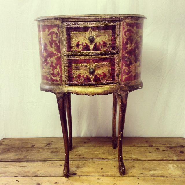 Crimson & Gilt Venetian Side Table with Drawers - R5600