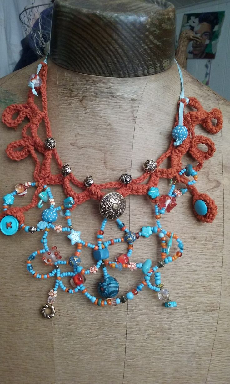 Nacklace, crochet, glas, metal, beads and buttons, orange, turquois