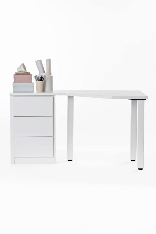 White Lundia Classic table with drawer. Also available in pine colour.