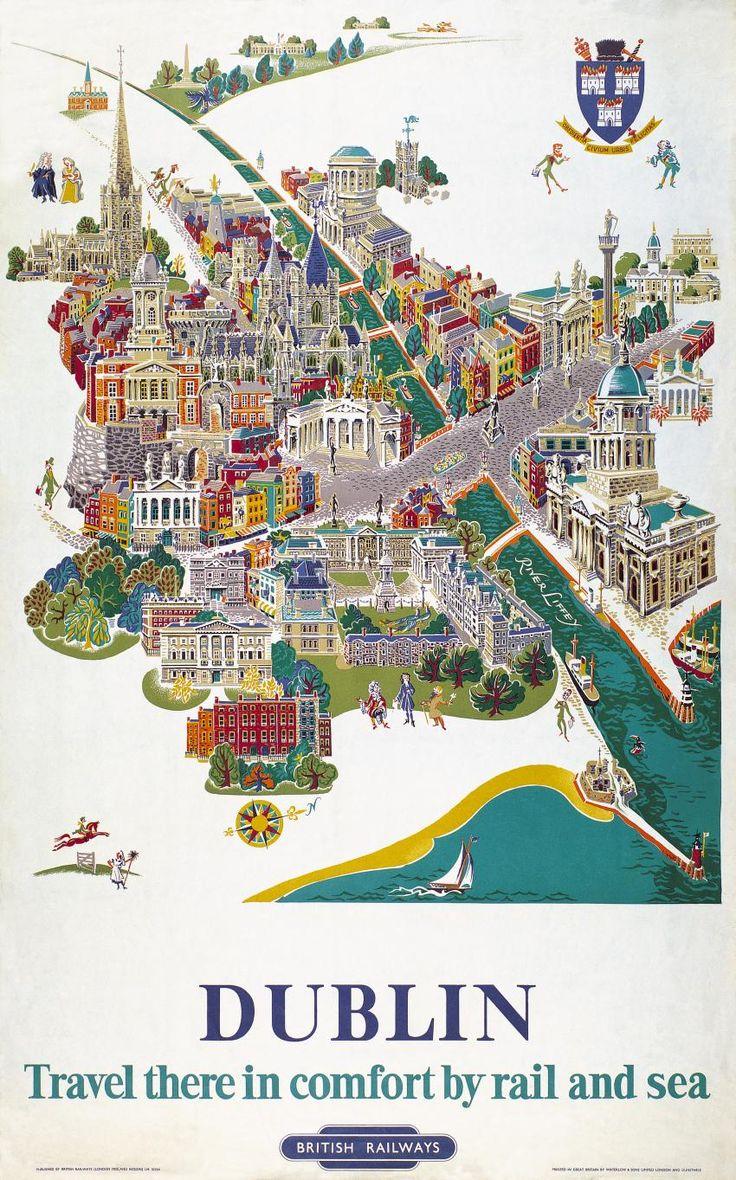 Irish Travel Art Poster Dublin Map River Liffey Ireland
