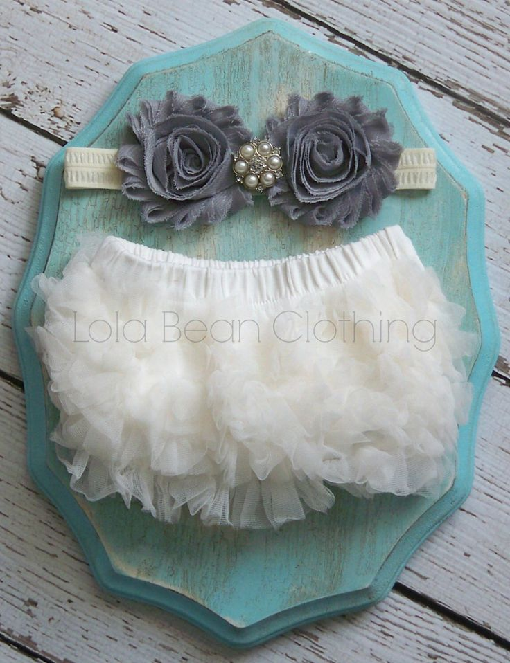 Baby Girl TuTu Bloomers Chiffon Ruffle Diaper Cover Grey Ivory Headband Set 0 3 6 9 12 months Photography Prop Newborn Take home outfit by LolaBeanClothing on Etsy https://www.etsy.com/listing/217468467/baby-girl-tutu-bloomers-chiffon-ruffle