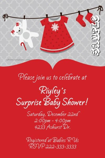 Christmas Holiday Clothesline Baby Shower Invitations - Get these - baby shower invitations download