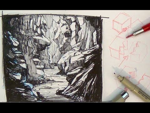 Pen and ink drawing tutorials how to draw a valley gorge landscape sce