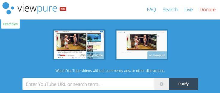 Viewpure: les vidéos de YouTube et seulement les vidéos! Bon outil pour la classe! (Pas de pubs, pas de commentaires, aucune sollicitation à droite...)