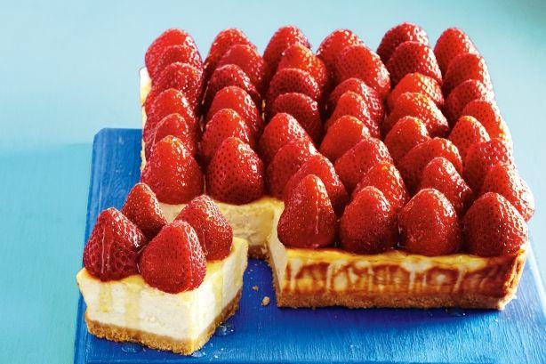 Cheesecake+μελιού+με+φράουλες+με+λίγες+θερμίδες