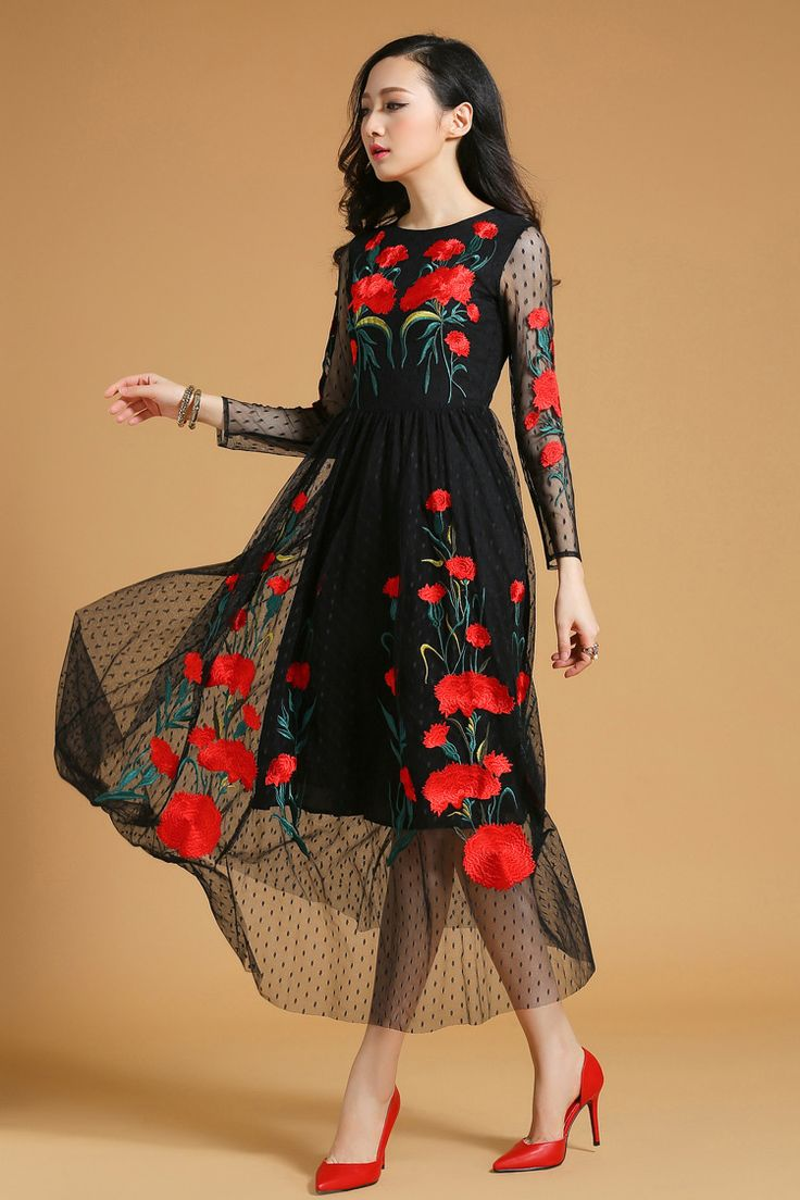 Vintage style dress, embroidered lace dress, 70s inspired dress, poppy printed transparent dress, fashion dress 2015