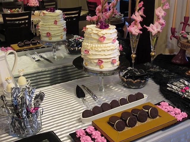 Elegant bridal shower dessert table in fuchsia, white and gold@Angela Saban