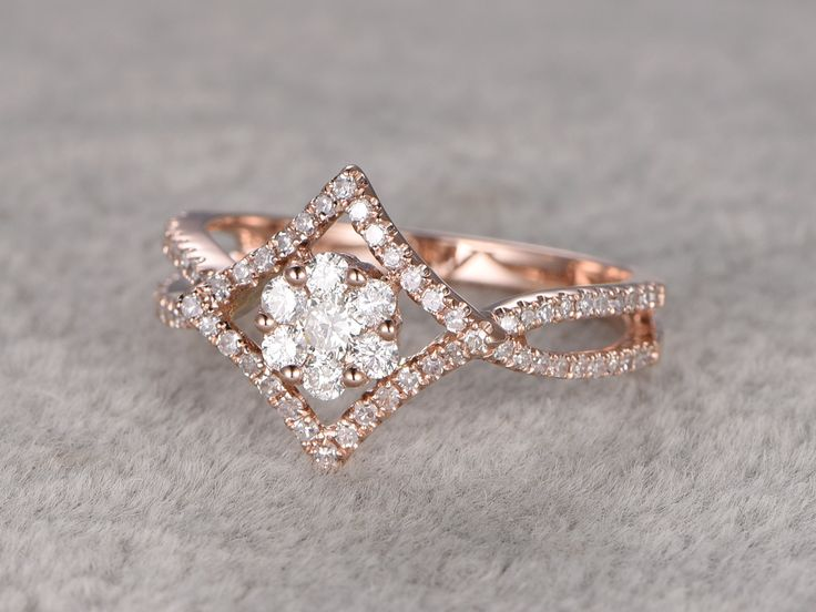 cluster diamond engagement ringfloral wedding ring14k rose gold bandround cut stone promise ringbridal ringsplit shank infinity twisted - Colored Wedding Rings