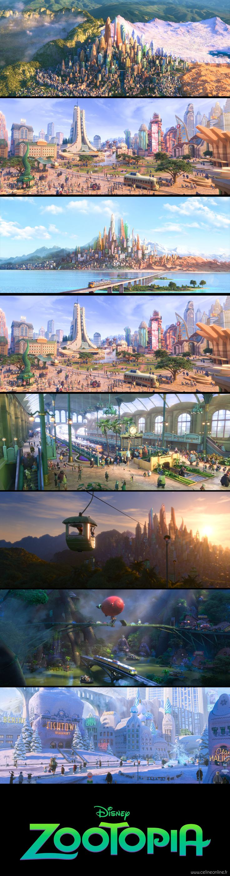Zootopie, le nouveau film des studios Disney, réalisé par Byron Howard et Rich Moore. Paysages.