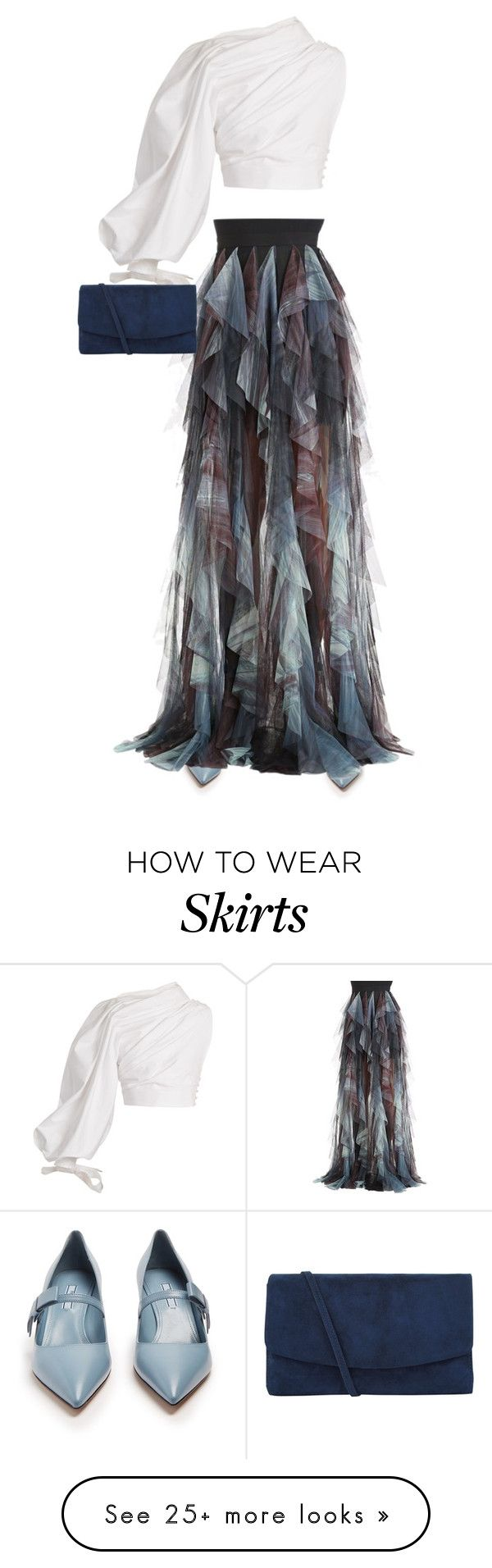 """""""tulle skirt"""" by oxigenio on Polyvore featuring Prada, Elie Saab, Jacquemus and Hobbs"""